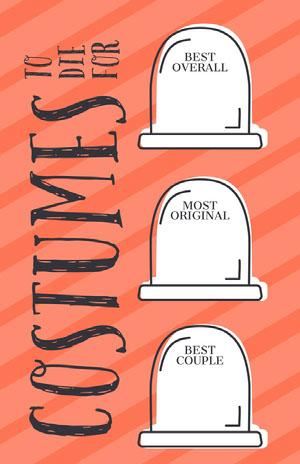 Orange Striped Gravestone Halloween Party Best Costume Card Halloween Party