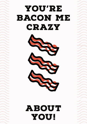 Bacon Pun Valentine's Day Card Valentines Day Card