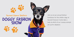 Orange, Blue and Grey Doggy Fashion Show Facebook Banner Fashion Show