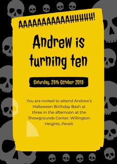 Yellow and Black Skulls Halloween Birthday Party Invitation Card for Boy Birthday Bash
