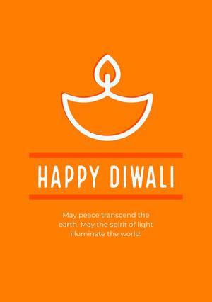 Orange and White Happy Diwali Card Diwali