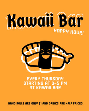 Orange, Black and White Sushi Bar Ad Instagram Portrait Happy Hour Invitations