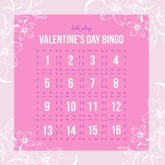 Pink Floral Valentines Bingo Valentine's Day