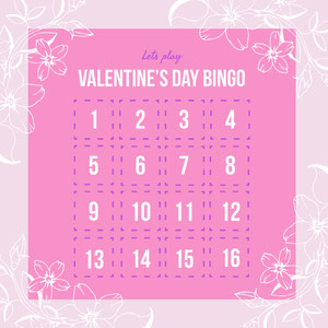 Pink Floral Valentine's Day Party Bingo Card ビンゴカード