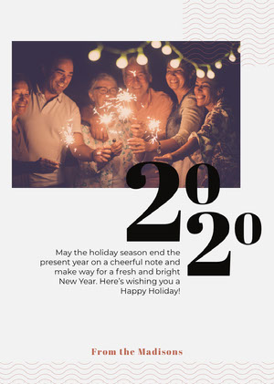 Happy New Year Card with Friends with Sparklers Photo Happy New Year Messages