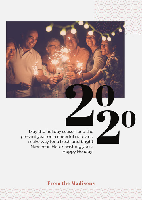 Happy New Year Card with Friends with Sparklers Photo Messaggi di felice anno nuovo