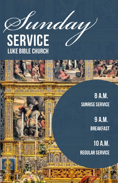 Blue and Gold Sunday Service Church Flyer with Altar Photo Gold