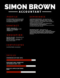 Black, White and Red Accountant Resume Data Visualization