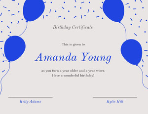Blue Birthday Certificate with Balloons and Confetti Birthday Certificate