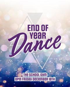 Purple & Blue Sparkle School Dance Instagram Portrait  Dance Flyer