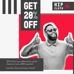 Red White and Black Hipster Fashion Instagram Square  Promotion