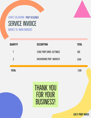 Colorful Abstract Shapes Business Invoice Faktura