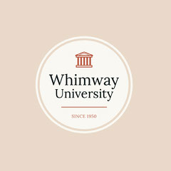 White and Pink University Badge Education