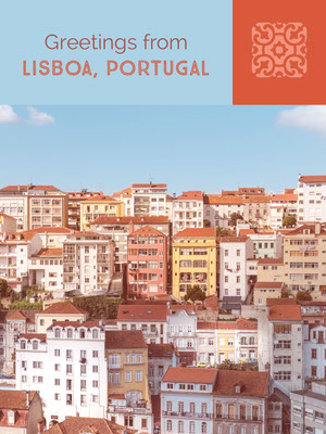 Blue and Orange Lisboa Portugal Postcard with City View Cartolina di viaggio