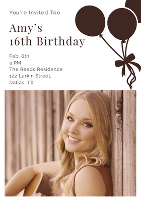 Sweet Sixteen Birthday Invitation Card with Photo and Balloons Convite de aniversário