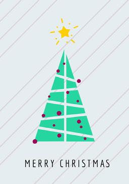 Green Geometric Tree Merry Christmas Card jeff-test-5