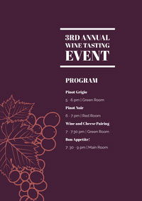 White and Purple Tasting Wine Event Program Arrangementsprogram