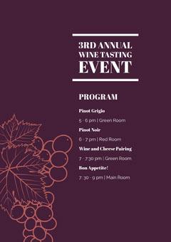 White and Purple Tasting Wine Event Program Wine Tasting Flyer