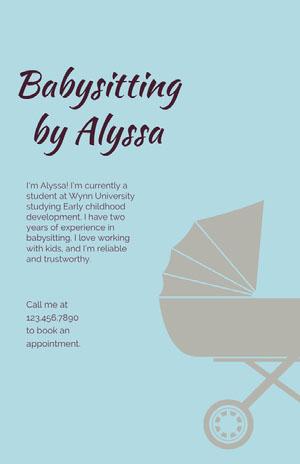 Babysitting by Alyssa Babysitting Flyer