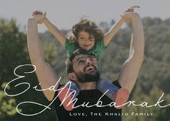 Elegant Classy Script Eid Mubarak Message Photo Card Eid Mubarak