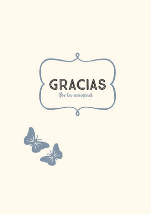 cream and blue butterfly thank you cards  Tarjeta de agradecimiento
