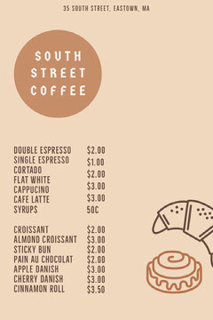 Coffee House Menu  Cafe