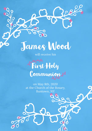 Blue, White and Pink  First Holy Communion Announcement Card Communion Annoucements