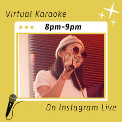 Yellow Singer Photo Virtual Karaoke Event Instagram Square Karaoke Flyer