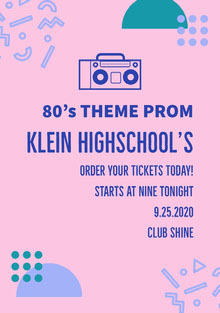 Pink and Blue Prom Poster School Posters