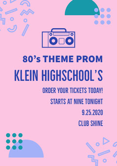 Pink and Blue Prom Poster Night Club Flyer