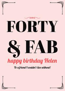 Pink Elegant Frame Happy Birthday Card for Woman Birthday Card