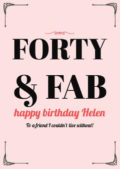Pink Elegant Frame Happy Birthday Card for Woman Birthday