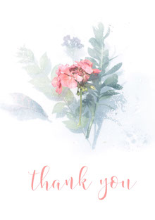 Blue Pink and White Thank You Card Tarjetas