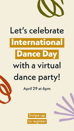 Colorful Doodle International Dance Day Virtual Party Announcement Holiday Party Flyer