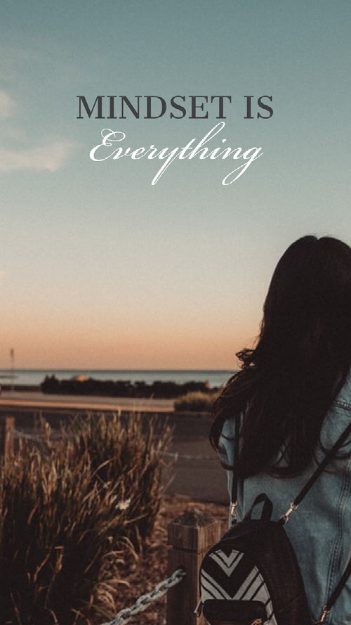 Inspirational Phrase Smart Phone Wallpaper with Woman with Backpack at Sunset Planos de fundo para Zoom