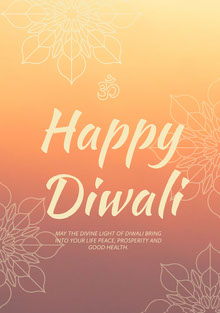 Orange and White Happy Diwali Greeting Card Tarjetas