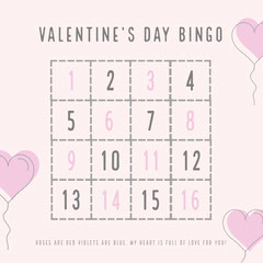 Gray and Pink Balloon Heart Valentine's Day Party Bingo Card Balloon