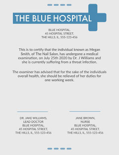 blue hospital medical certificate  Health Posters