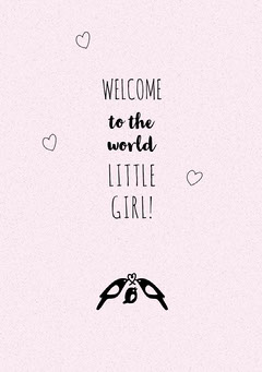 Girl Birth Announcement Card with Birds Welcome Poster