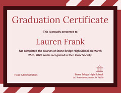 Red High School Graduation Certificate Back to School