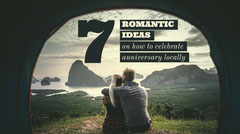 Romantic Ideas for Anniversary Blog Post Graphic with Couple and Scenic Landscape Celebration