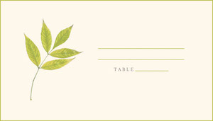 Green Leaf Wedding Place Card Placas de identificação de mesa
