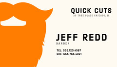 Orange Beard Themed Barber Business Card Barber