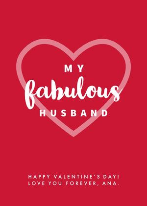 White and Pink My Fabulous Husband Card Tarjeta de San Valentín