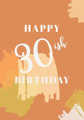 Orange and White Happy Birthday Card Bachelorette Party Invitation