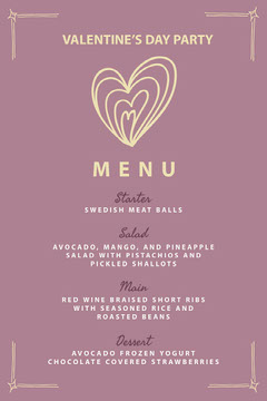 Valentines Day Party Menu Heart