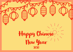 Yellow and Orange Happy Chinese New Year Card Chinese New Year