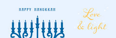 Light Blue Happy Hanukkah Banner  Hannukkah