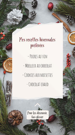Festive Winter Recipes List Instagram Story