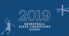 Blue Illustrated High School Basketball Champion Facebook Post Graphic Teams